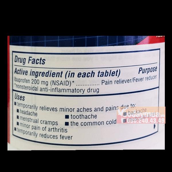 Thành phần dưỡng chất có trong thuốc giảm đau Advil của Mỹ
