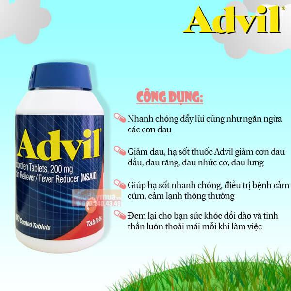 Công dụng của viên uống giảm đau hạ sốt Advil của Mỹ