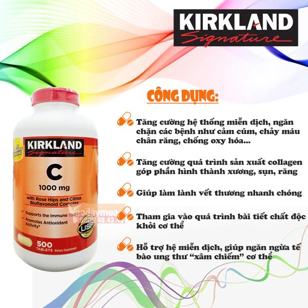 Công dụng của viên uống bổ sung Vitamin C 1000mg Kirkland