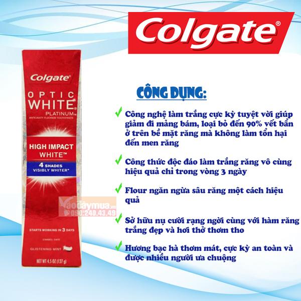 Công dụng của Kem đánh răng Colgate Mỹ