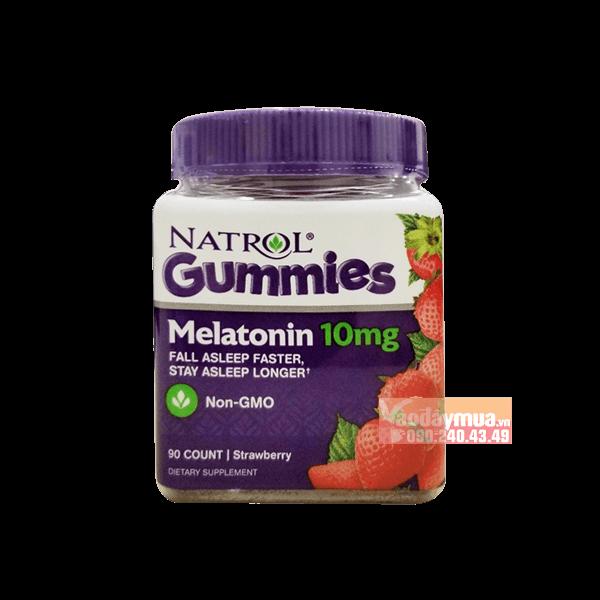 Hình ảnh tổng thể có trong kẹo dẻo ngủ ngonNatrol Gummies Melatonin 10mg Mỹ