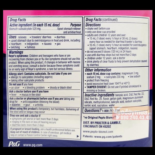 Thành phần nổi bật có trongSiro trị tiêu hóaPepto Bismol Mỹ