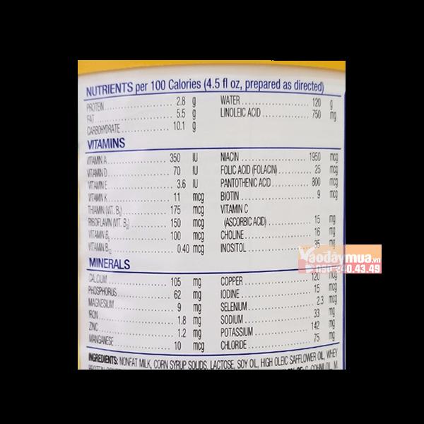Thành phần dưỡng chất có trong sữa Similac Neosure của Mỹ