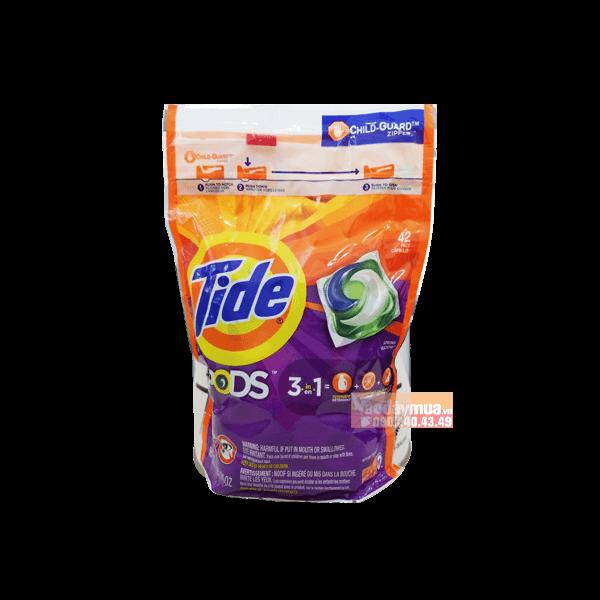 Hình ảnh tổng thể Viên giặt xả đa chiều 3 trong 1 Tide Pods 42 viên của Mỹ